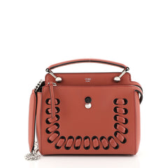 Fendi DotCom Convertible Satchel Whipstitch Leather Small Red 447501