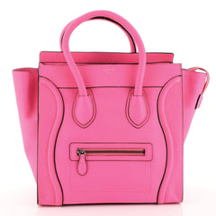 Celine Luggage Handbag Grainy Leather Mini Pink 447511