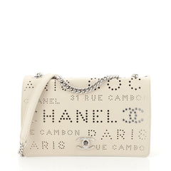 Chanel Logo Eyelets Flap Bag Perforated Calfskin Neutral 4481519