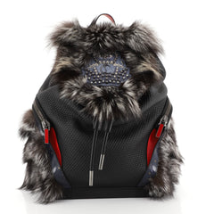 Christian Louboutin Explorafunk Backpack Spiked Leather and Fur Black 4481520
