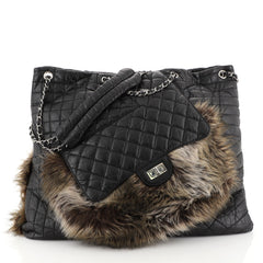 Chanel Karl's Fantasy Cabas Tote Fur and Quilted Leather Black 4481521
