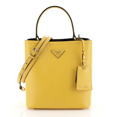 Prada Panier Bucket Bag Saffiano Leather Medium Yellow 4481531