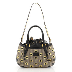 Fendi B. Fab Convertible Tote Grommet Embellished Raffia Small Neutral 4481545