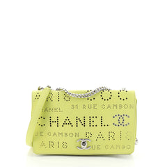 Logo Eyelets Flap Bag Perforated Calfskin