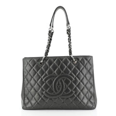 Chanel Grand Shopping Tote Quilted Caviar Gray 448215