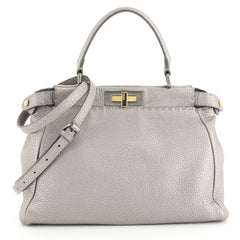 Fendi Selleria Peekaboo Bag Leather Regular Gray 4482212