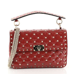 Valentino Rockstud Spike Flap Bag Quilted Patent Medium Red 4482214