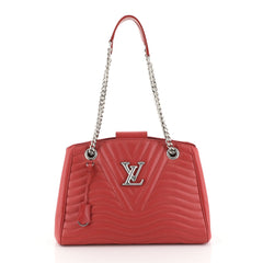 Louis Vuitton New Wave Chain Tote Quilted Leather Red 448261