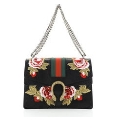 Gucci Web Dionysus Bag Embroidered Leather Medium Black 4483201