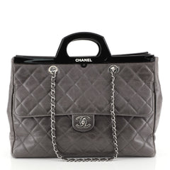 Chanel CC Delivery Tote Quilted Glazed Calfskin Large Gray 448631