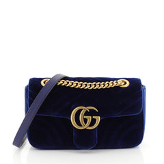 Gucci GG Marmont Flap Bag Matelasse Velvet Mini Blue 448763