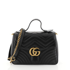 Gucci GG Marmont Top Handle Flap Bag Matelasse Leather Small Black 448765