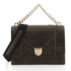 Christian Dior Diorama Chain Satchel Grained Leather Large Brown 448766