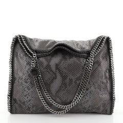 Stella McCartney Falabella Tote Faux Snakeskin Large Gray 448861
