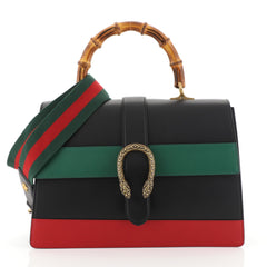 Gucci Dionysus Bamboo Top Handle Bag Colorblock Leather Large Black 448908