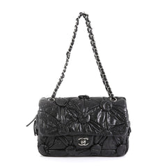 Chanel Lemarie Flap Bag Draped Lambskin Medium Black 448931