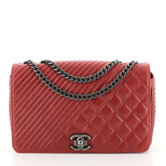 Chanel Coco Boy Flap Bag Quilted Aged Calfskin Medium Red 448934