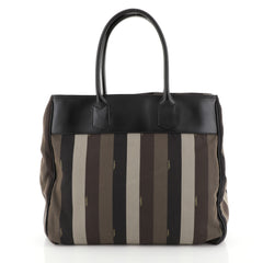 Fendi Pequin Tote Canvas with Leather Large Black 449022