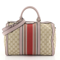 Gucci Vintage Web Boston Bag GG Canvas Medium Brown 449071