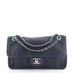 Chanel Up In The Air Flap Bag Perforated Leather Medium Blue 449081