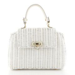 Salvatore Ferragamo Sofia Satchel Wicker Small White 449121