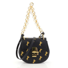 Chloe Drew Bijou Crossbody Bag Embroidered Leather Mini Black 4492101