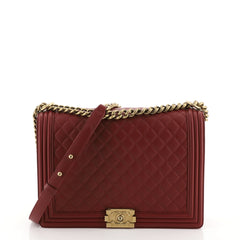 Chanel Boy Flap Bag Quilted Lambskin Large Red 449231