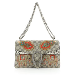 Dionysus Bag Embroidered GG Coated Canvas with Python Small