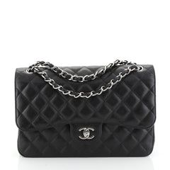 Chanel Classic Double Flap Bag Quilted Caviar Medium Black 449552