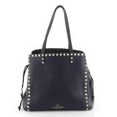 Valentino Rockstud Drawstring Tote Leather Blue 449561