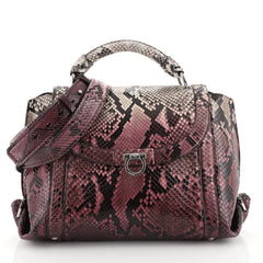 Salvatore Ferragamo Sofia Satchel Python Small Purple 449851