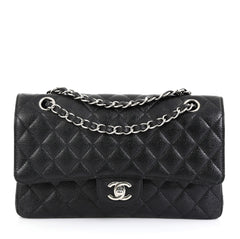 Chanel Classic Double Flap Bag Quilted Caviar Medium Black 449891