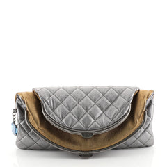 Chanel Double Kisslock Fold Over Clutch Quilted Leather Medium Metallic 449941