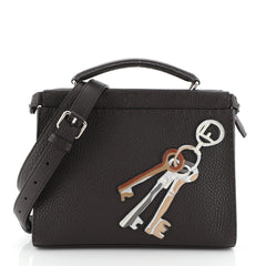 Fendi Selleria Peekaboo Fit Bag Leather with Applique Mini Brown 4500312
