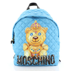 Moschino Teddy Bear Backpack Quilted Printed Nylon Medium Blue 4500313