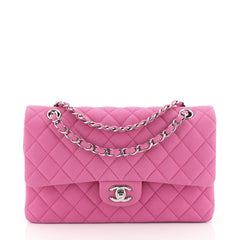 Chanel Classic Double Flap Bag Quilted Matte Caviar Medium Pink 450033...