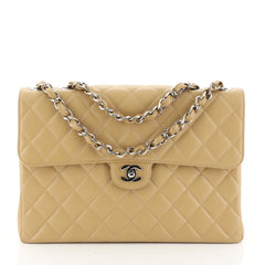 Chanel Vintage Classic Single Flap Bag Quilted Caviar Maxi Brown 45003...