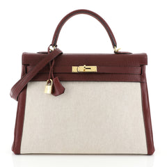 Hermes Kelly Handbag Toile and Red Chevre de Coromandel with Gold Hardware 32 Red 4500352