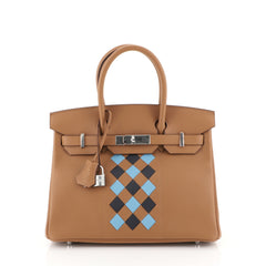 Hermes Birkin Handbag Tressage Brown Swift and Palladium Hardware 30 Blue 450038