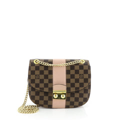 Louis Vuitton Wight Handbag Damier with Leather Brown 450307