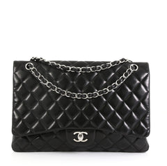 Chanel Vintage Classic Single Flap Bag Quilted Lambskin Maxi Black 450381
