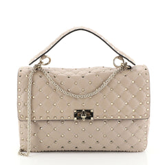 Valentino Rockstud Spike Flap Bag Quilted Leather Large Neutral 450421