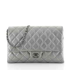 Chanel Clutch with Chain Quilted Lambskin Silver 450511