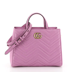 Gucci GG Marmont Tote Matelasse Leather Small Pink 450524