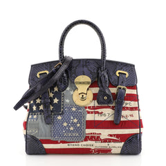 Ralph Lauren Collection American Flag Ricky Satchel Patchwork Canvas with Python 33 Blue 4506401