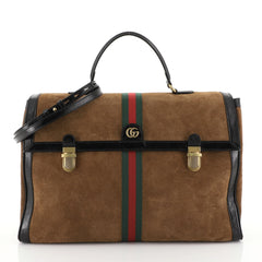 Gucci Ophidia Briefcase Suede Brown 450671