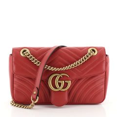 Gucci GG Marmont Flap Bag Matelasse Leather Small Red 450672
