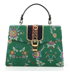 Gucci Sylvie Top Handle Bag Floral Jacquard Medium Green 450675
