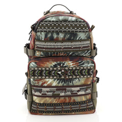Valentino Tie Dye Double Pocket Backpack Beaded Printed Canvas Large Green 450691