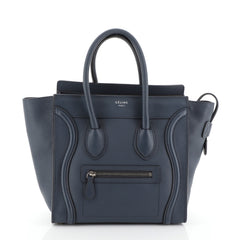 Celine Luggage Handbag Grainy Leather Micro Blue 45111111